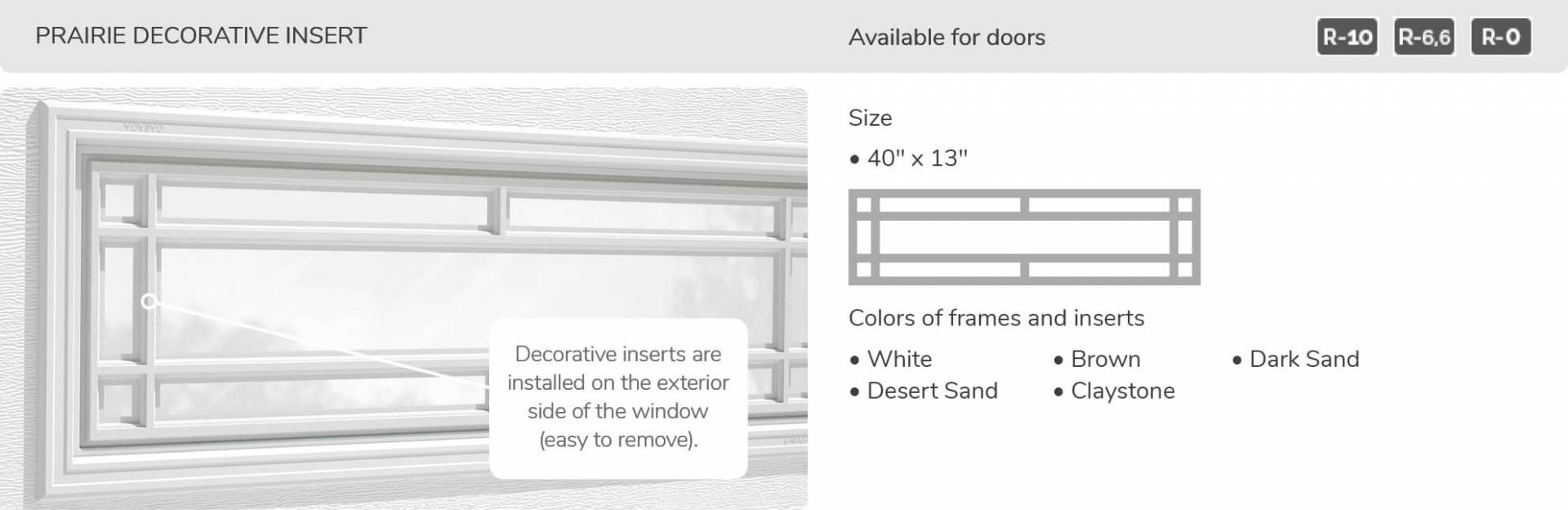 Prairie Decorative Insert, 40' x 13', available for doors R-10, R-6.6, R-0
