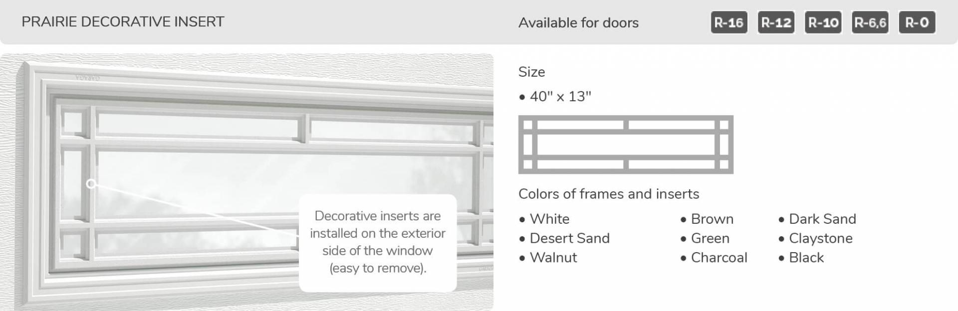 Prairie Decorative Insert, 40' x 13', available for doors R-16, R-12, R-10, R-6,6 and R-0
