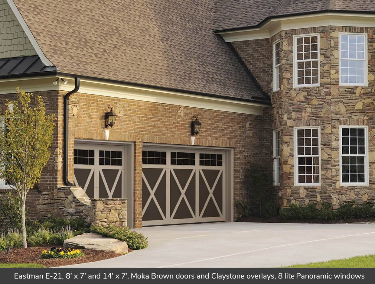 Eastman E-21, 9' x 7', Moka Brown doors and Claystone overlays, 8 lite Panoramic windows
