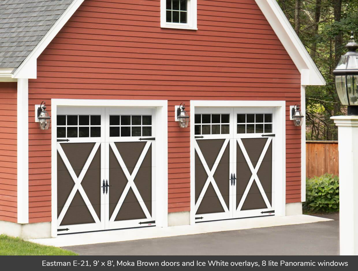 Eastman E-21, 9' x 7', Moka Brown doors and Ice White overlays, 8 lite Panoramic windows